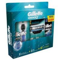Kit Aparelho de Barbear Gillette Mach3 + 3 Cargas + Gel