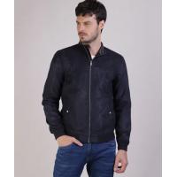 Jaqueta Masculina em Suede com Bolsos Gola Alta Azul Esc