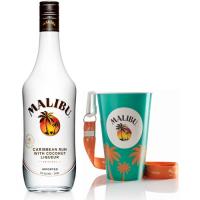 Kit Rum Malibu 750ml + Copo Cordão Malibu