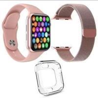 Kit 1 Relógio Inteligente SmartWatch W34 S Rosa + 1 Puls