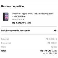 iPhone 11 Apple Preto, 128GB Desbloqueado - MHDH3BR/A R$