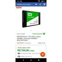 SSD WD Green, 1TB, SATA, Leitura 545MB/s, Gravação 430MB