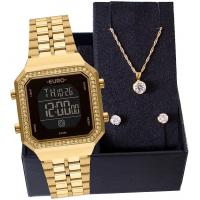 Kit Relógio Feminino Euro Fashion Fit Diamond Dourado E