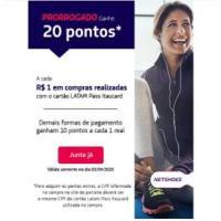 20 Pontos = R$ 1 gasto - Latam Pass comprando na Netshoe