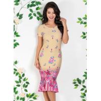 Vestido Moda Evangélica com Barrado Floral - Queima de E