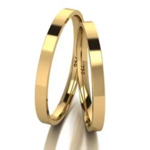 Aliança Casamento De Ouro 18k Quadrada Com 2,0mm