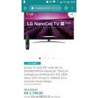 "Smart TV LED 55"" UHD 4K LG NanoCell"