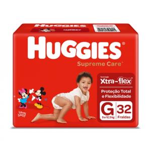 2 Pacotes Fralda Huggies Supreme Care G - 64 Unidades