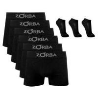 Kit 6 Cuecas Boxer Zorba Algodão Preta + 3 pares meia pr